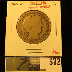 1905-O Barber Half Dollar, G, better date, low mintage, value $30