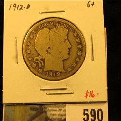 1912-D Barber Half Dollar, G+, value $16