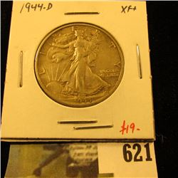 1944-D Walking Liberty Half Dollar, XF+, value $19