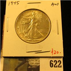 1945 Walking Liberty Half Dollar, AU+, value $20