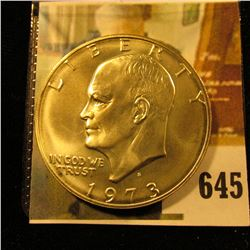 1973-S Eisenhower Dollar, 40% Silver, BU, value $14 to $18