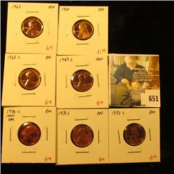 Group of (7) PROOF Lincoln Cents, 1963, 1964, 1968-S, 1969-S, 1970-S large date, 1971-S, 1972-S, gro