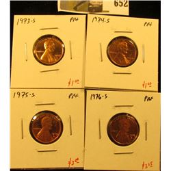 Group of (4) PROOF Lincoln Cents, 1973-S, 1974-S, 1975-S, 1976-S, group value $8+