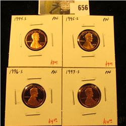 Group of (4) PROOF Lincoln Cents, 1994-S, 1995-S, 1996-S, 1997-S, group value $30+