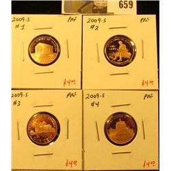 Group of (4) PROOF Lincoln Cents, 2009-S 4 coin Lincoln Bicentennial Commemoratives, group value $16