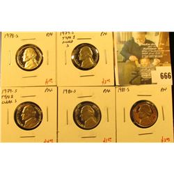 Group of (5) PROOF Jefferson Nickels, 1978-S, 1979-S type 1, 1979-S type 2, 1980-S, 1981-S, group va