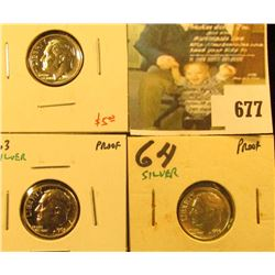 (3) Silver PROOF Roosevelt Dimes, 1962, 1963, 1964, group value $15