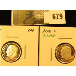 (2) Silver PROOF Roosevelt Dimes, 2013-S & 2016-S, pair value $10