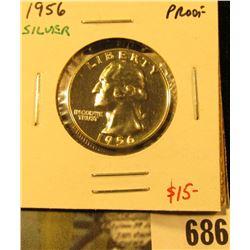 1956 Silver PROOF Washington Quarter, value $15