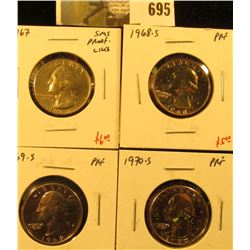 Group of (4) PROOF Washington Quarters, 1967 SMS/BU (proof-like), 1968-S, 1969-S, 1970-S, group valu
