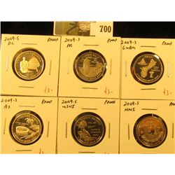 Group of (6) PROOF Washington Quarters, all 6 of the 2009-S Territory Quarters, group value $18