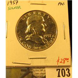 1957 Silver PROOF Franklin Half Dollar, value $28