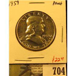 1959 Silver PROOF Franklin Half Dollar, value $22