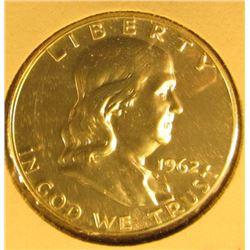 1962 Silver PROOF Franklin Half Dollar, value $22
