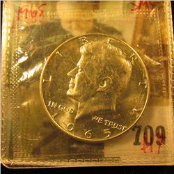 1965 Silver SMS/BU (proof-like) Kennedy Half Dollar, value $17