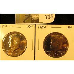 (2) PROOF Kennedy Half Dollars, 1971-S & 1972-S, pair value $10