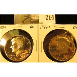 (2) PROOF Kennedy Half Dollars, 1973-S & 1974-S, pair value $9