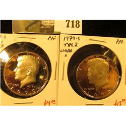 (2) PROOF Kennedy Half Dollars, 1979-S type 1 & type 2, pair value $21