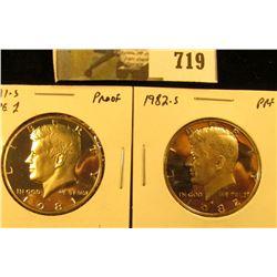 (2) PROOF Kennedy Half Dollars, 1981-S type1 & 1982-S, pair value $8