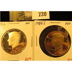 (2) PROOF Kennedy Half Dollars, 1983-S & 1984-S, pair value $11