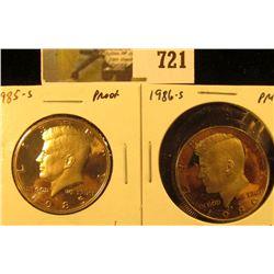 (2) PROOF Kennedy Half Dollars, 1985-S & 1986-S, pair value $11