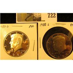 (2) PROOF Kennedy Half Dollars, 1987-S & 1988-S, pair value $10
