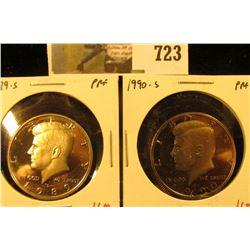 (2) PROOF Kennedy Half Dollars, 1989-S & 1990-S, pair value $12