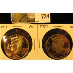 (2) PROOF Kennedy Half Dollars, 1991-S & 1993-S, pair value $18