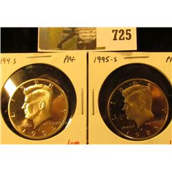 (2) PROOF Kennedy Half Dollars, 1994-S & 1995-S, pair value $23