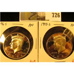 (2) PROOF Kennedy Half Dollars, 1996-S & 1997-S, pair value $22