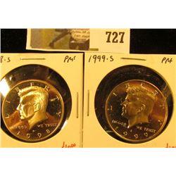 (2) PROOF Kennedy Half Dollars, 1998-S & 1999-S, pair value $23