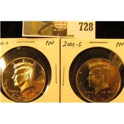 (2) PROOF Kennedy Half Dollars, 2000-S & 2001-S, pair value $14