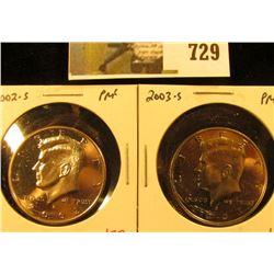 (2) PROOF Kennedy Half Dollars, 2002-S & 2003-S, pair value $14