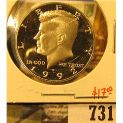 1992-S Silver PROOF Kennedy Half Dollar, value $17