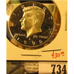 1996-S Silver PROOF Kennedy Half Dollar, value $30