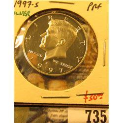 1997-S Silver PROOF Kennedy Half Dollar, value $30