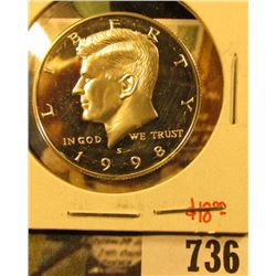 1998-S Silver PROOF Kennedy Half Dollar, value $18