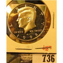 1998-S Silver PROOF Kennedy Half Dollar, value $18