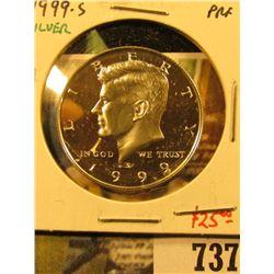 1999-S Silver PROOF Kennedy Half Dollar, value $25