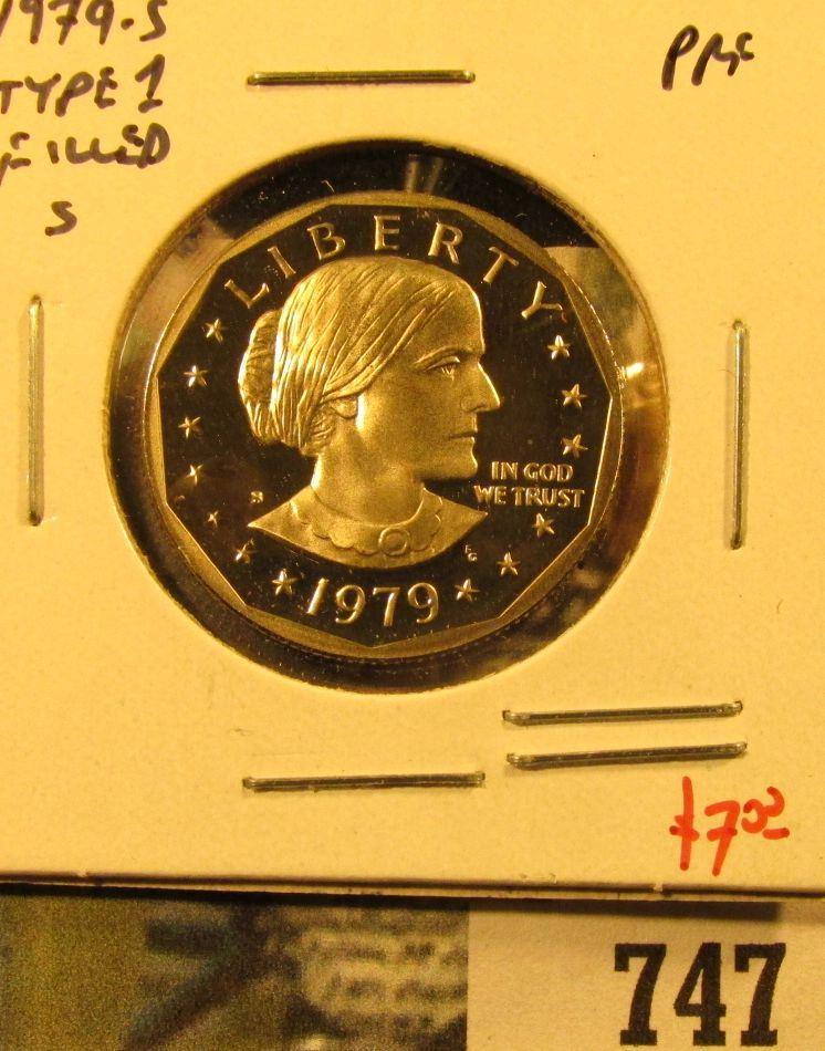1979-S Type 1 PROOF Susan B  Anthony Dollar, value $7