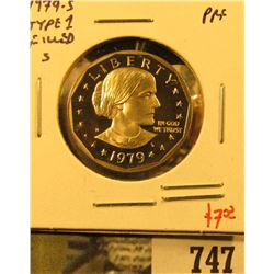 1979-S Type 1 PROOF Susan B. Anthony Dollar, value $7