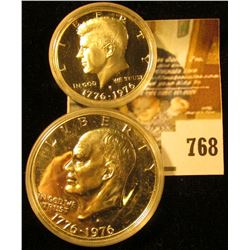 (2) 1976-S Silver PROOF Bicentennial coins, Kennedy Half & Eisenhower Dollar, pair value $31
