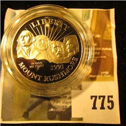 1991-S Mount Rushmore Commemorative Half Dollar, PROOF, value $12