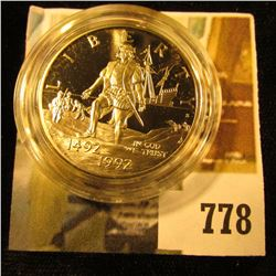 1992-S Columbus Quincentenary Commemorative Half Dollar, PROOF, value $10