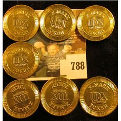 (7)  X-Mark/IDX/1.073/A075/Token , Bi-metal high security Tokens, rev. circular swirl-like design at