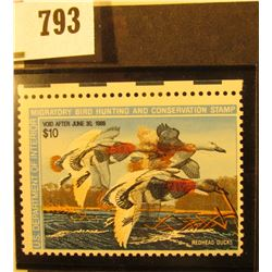 RW54 Very Rare Error 1987 U.S. Migratory Waterfowl Stamp, VF, Double Imprint error, Cat.No.225, a sp