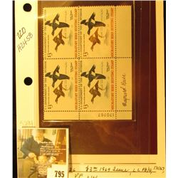 Sam Houston Philatelics Past Lot 1054,which is RW36, Original Plate Block with Serial Number 170767