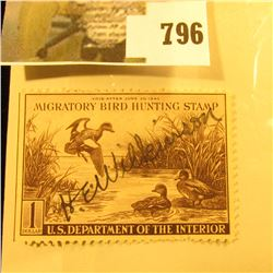 RW9 1942 U.S. Migratory Waterfowl Stamp, Signed.