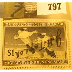 RW14 1947 U.S. Migratory Waterfowl Stamp, Signed.