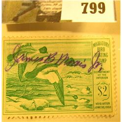 RW16 1949 U.S. Migratory Waterfowl Stamp, Signed.